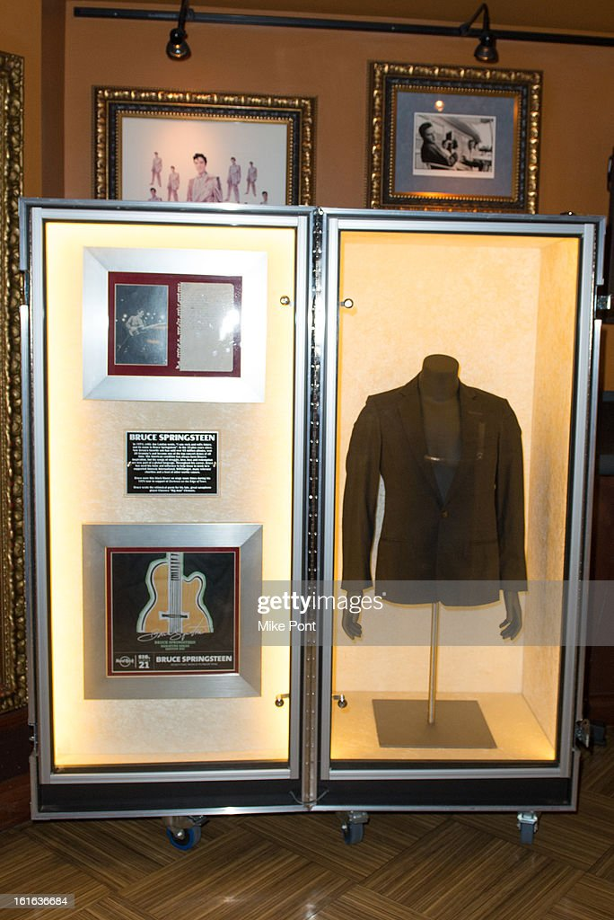Blazer worn by Bruce Sprinsteen on display at Hard Rock's 'Gone Too Soon' and 'Music Gives Back' Media Preview Day at Hard Rock Cafe New York on February 13, 2013 in New York City.
