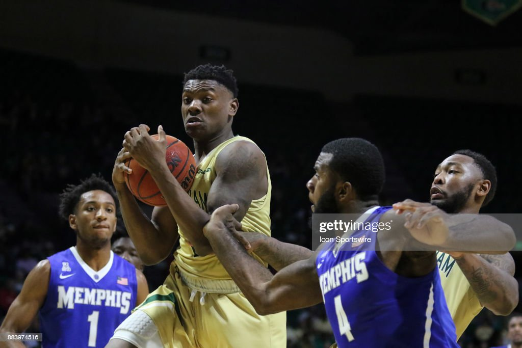 Blazers guard Jalen Perry (21) grabs a rebound in the game between the Memphis Tigers and the UAB Blazers on November 30, 2017 at Bartow Arena in Birmingham, Alabama.