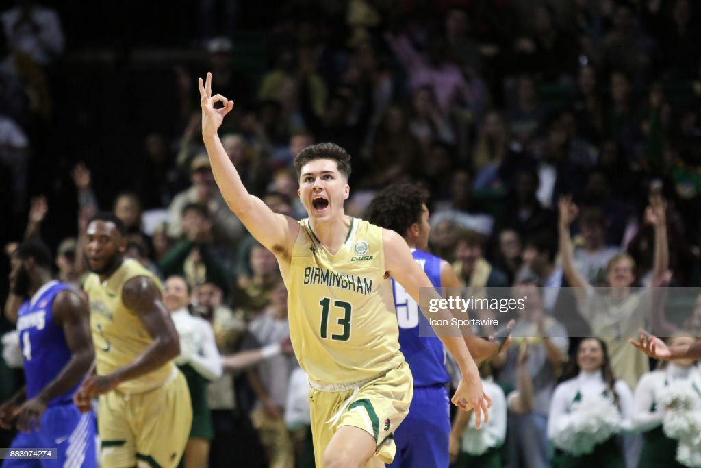 Blazers guard Nate Darling (13) reacts after making a three pointer in the game between the Memphis Tigers and the UAB Blazers on November 30, 2017 at Bartow Arena in Birmingham, Alabama.