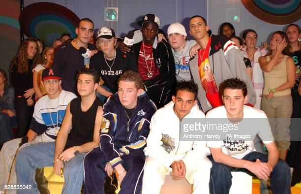 Blazin Squad during their appearance on MTV's TRL UK at the MTV Studios in Camden north London