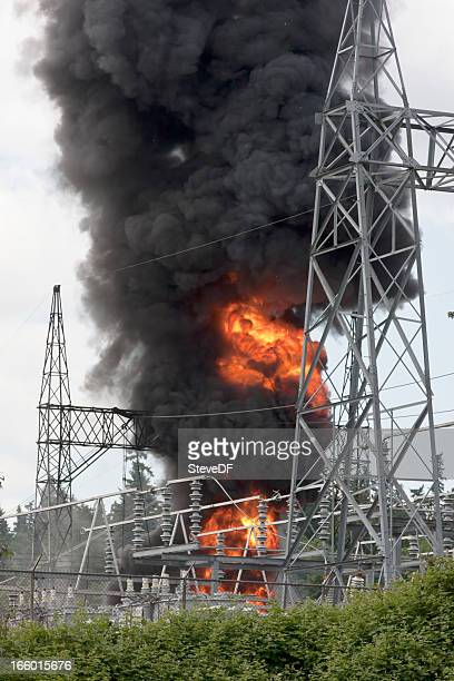 Blazing fire at electrical substation