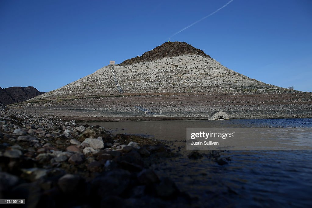A bleached 'bathtub ring' is visible on Pyramid Island near Boulder Beach on May 13 2015 in Lake Mead National Recreation Area Nevada As severe...