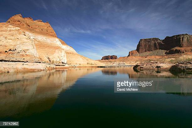 A bleached 'bathtub ring' the result of a sixyear drought that has dramatically dropped the level of the reservoir shows on red Navajo sandstone...