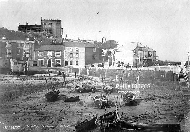 Bleak House Fort Road Broadstairs Kent 18901910 A view of Bleak House on the cliffs at Broadstairs taken from Viking Bay with beached boats on the...