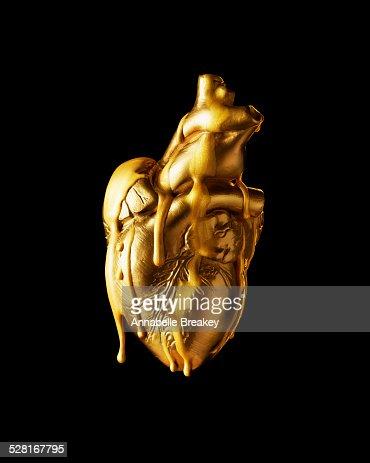 'Bleeding' Gold Heart Conceptual Still Life