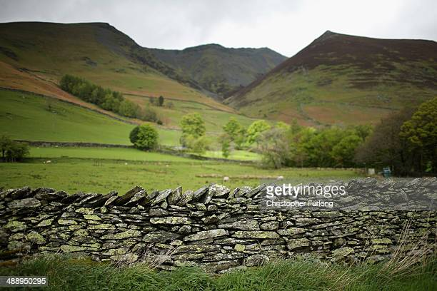 Blencathra Mountain which is up for sale for 175M GBP overlooks the Lake District fells on May 9 2014 in Keswick United Kingdom The Earl of Lonsdale...