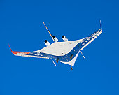 July 20, 2007 - A pristine blue sky backdrops the X-48B Blended Wing Body aircraft during the aircraft's first flight from NASA's Dryden Flight Research Center.