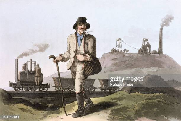 Blenkinsop steam locomotive at Middleton colliery near Leeds West Yorkshire 1814 From Costume of Yorkshire by George Walker 1814 Mining engineer and...