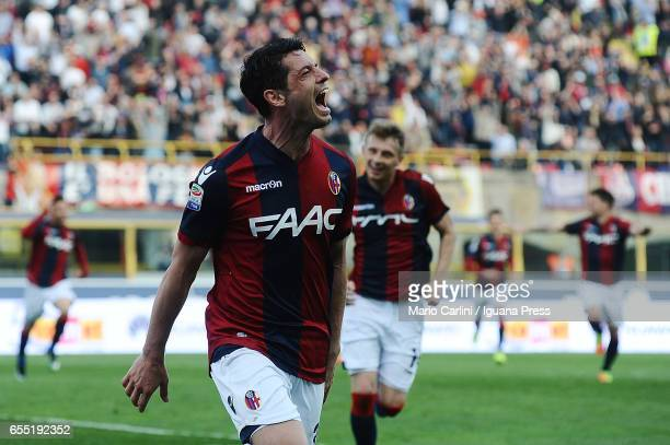 Blerim Dzemaili of Bologna FC celebrates after scoring his team's second goal during the Serie A match between Bologna FC and AC ChievoVerona at...