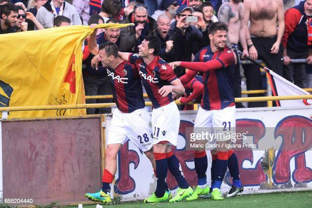 Blerim Dzemaili of Bologna FC celebrates after scoring his team's third goal during the Serie A match between Bologna FC and AC ChievoVerona at...
