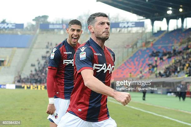 Blerim Dzemaili of Bologna FC celebrates after scoring the opening goal during the Serie A match between Bologna FC and FC Torino at Stadio Renato...