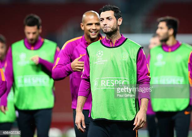 Blerim Dzemaili of Galatasaray looks on during a Galatasaray training session ahead of their UEFA Champions League Group D match against Arsenal at...