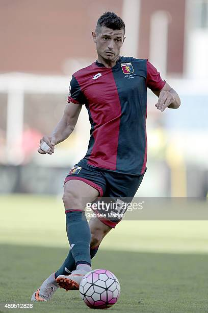 Blerim Dzemaili of Genoa CFC in action during the Serie A match between Genoa CFC and Juventus FC at Stadio Luigi Ferraris on September 20 2015 in...