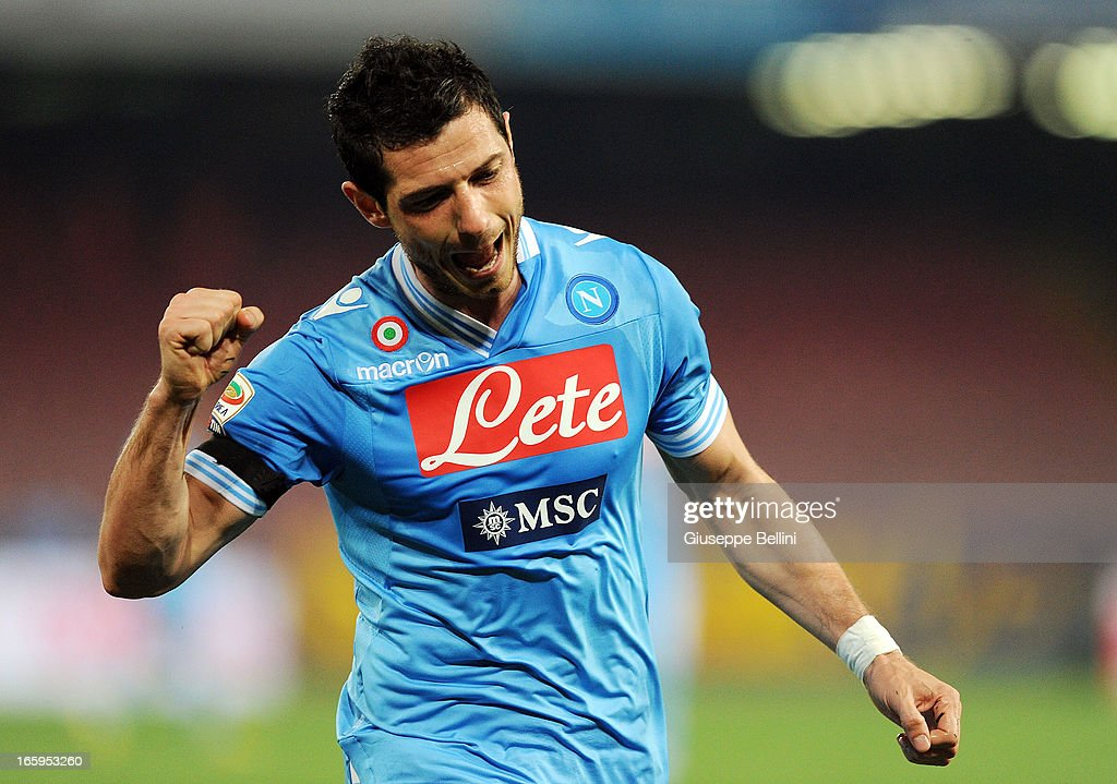 Blerim Dzemaili of Napoli celebrates after scoring his team's second goal during the Serie A match between SSC Napoli and Genoa CFC at Stadio San Paolo on April 7, 2013 in Naples, Italy.