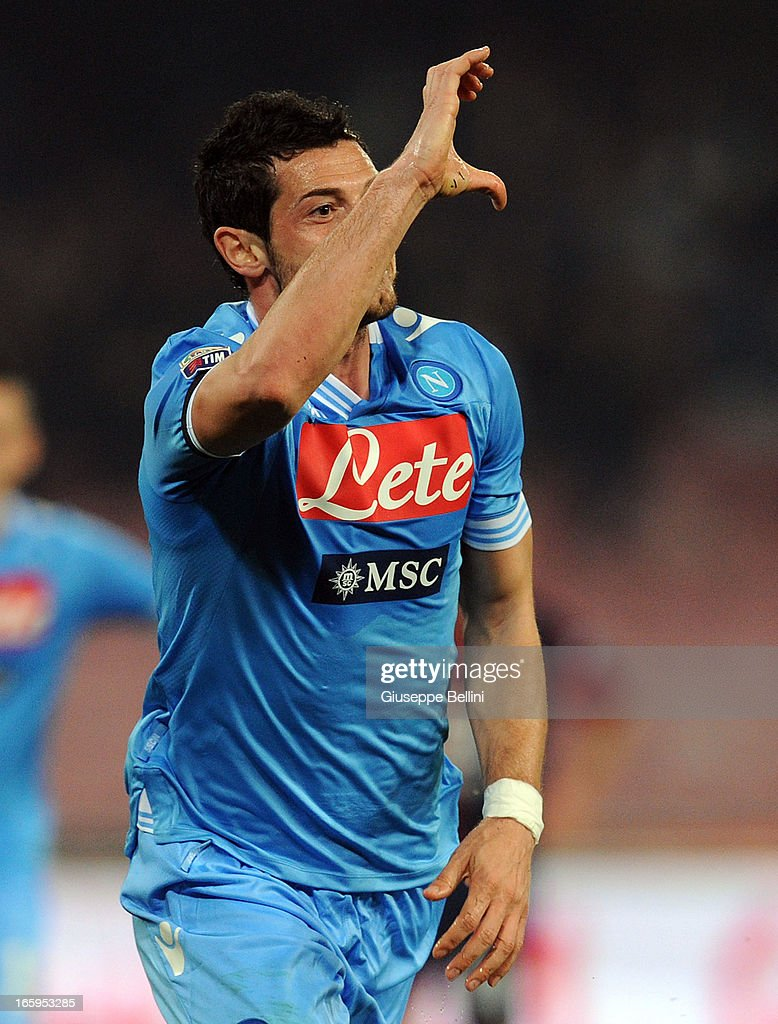 Blerim Dzemaili of Napoli celebrates after scoring the goal 2-0 during the Serie A match between SSC Napoli and Genoa CFC at Stadio San Paolo on April 7, 2013 in Naples, Italy.