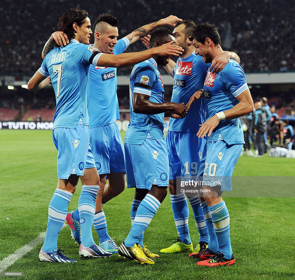 Blerim Dzemaili of Napoli (2nd R) celebrates with team-mates after scoring their team's second goal during the Serie A match between SSC Napoli and Genoa CFC at Stadio San Paolo on April 7, 2013 in Naples, Italy.