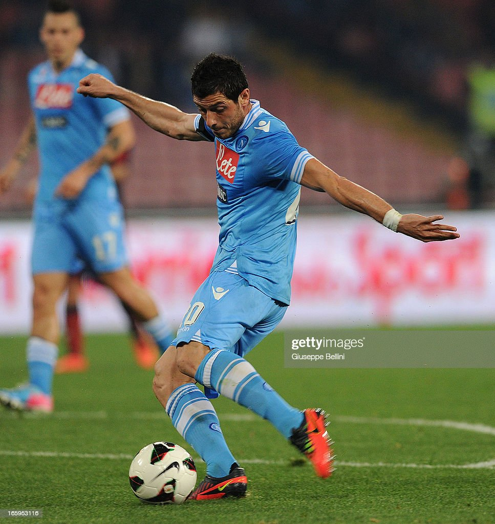 Blerim Dzemaili of Napoli scores his team's second goal during the Serie A match between SSC Napoli and Genoa CFC at Stadio San Paolo on April 7, 2013 in Naples, Italy.