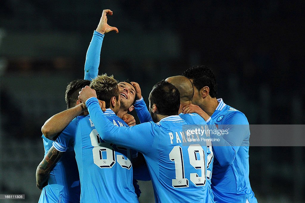 Blerim Dzemaili (C) of SSC Napoli celebrates his thirth goal with his team mates during the Serie A match between Torino FC and SSC Napoli at Stadio Olimpico di Torino on March 30, 2013 in Turin, Italy.