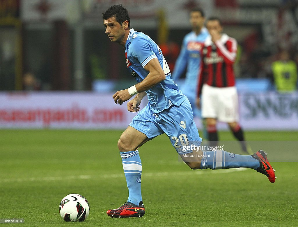 Blerim Dzemaili of SSC Napoli in action during the Serie A match between AC Milan and SSC Napoli at San Siro Stadium on April 14, 2013 in Milan, Italy.