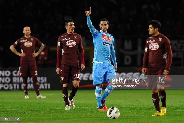 Blerim Dzemaili of SSC Napoli scoring celebrates the opening goal during the Serie A match between Torino FC and SSC Napoli at Stadio Olimpico di...