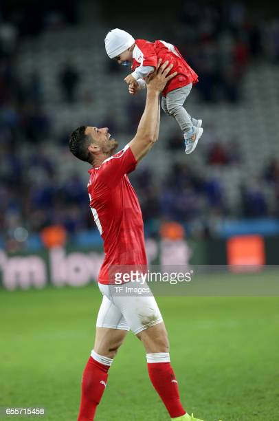 Blerim Dzemaili of Switzerland celebrate their win during the UEFA Euro 2016 Group A match between the Switzerland and France at Stade PierreMauroy...