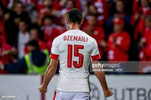 Blerim Dzemaili of Switzerland celebrates his goal during the FIFA 2018 World Cup Qualifier between Latvia and Switzerland at Skonto Stadium on...