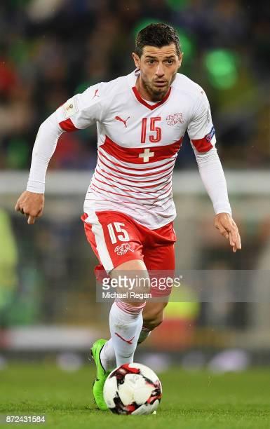 Blerim Dzemaili of Switzerland in action during the FIFA 2018 World Cup Qualifier PlayOff First Leg between Northern Ireland and Switzerland at...