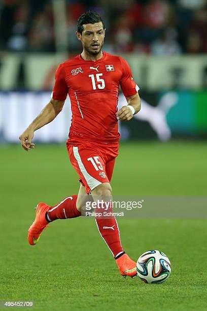 Blerim Dzemaili of Switzerland runs with the ball during the international friendly match between Switzerland and Peru at Swissporarena on June 3...