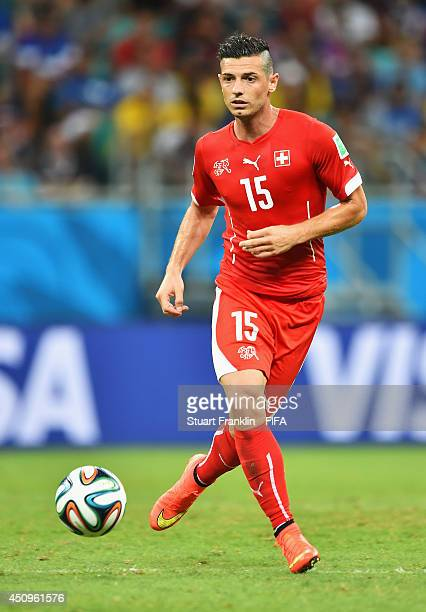 Blerim Dzemaili of Switzerland the 2014 FIFA World Cup Brazil Group E match between Switzerland and France at Arena Fonte Nova on June 20 2014 in...