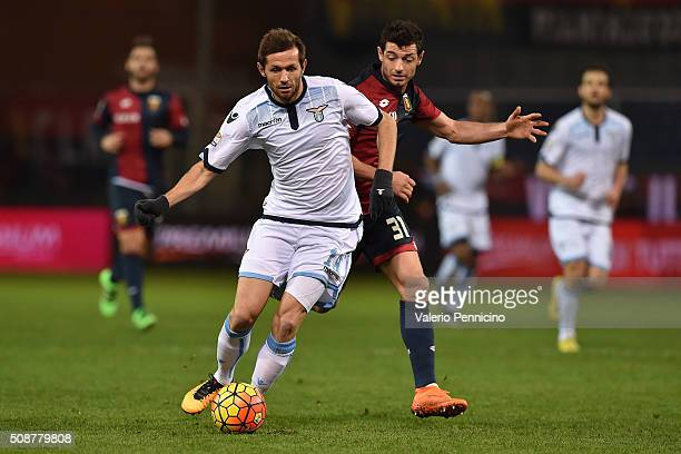 Blerin Dzemaili of Genoa CFC competes with Senad Lulic of SS Lazio during the Serie A match between Genoa CFC and SS Lazio at Stadio Luigi Ferraris...