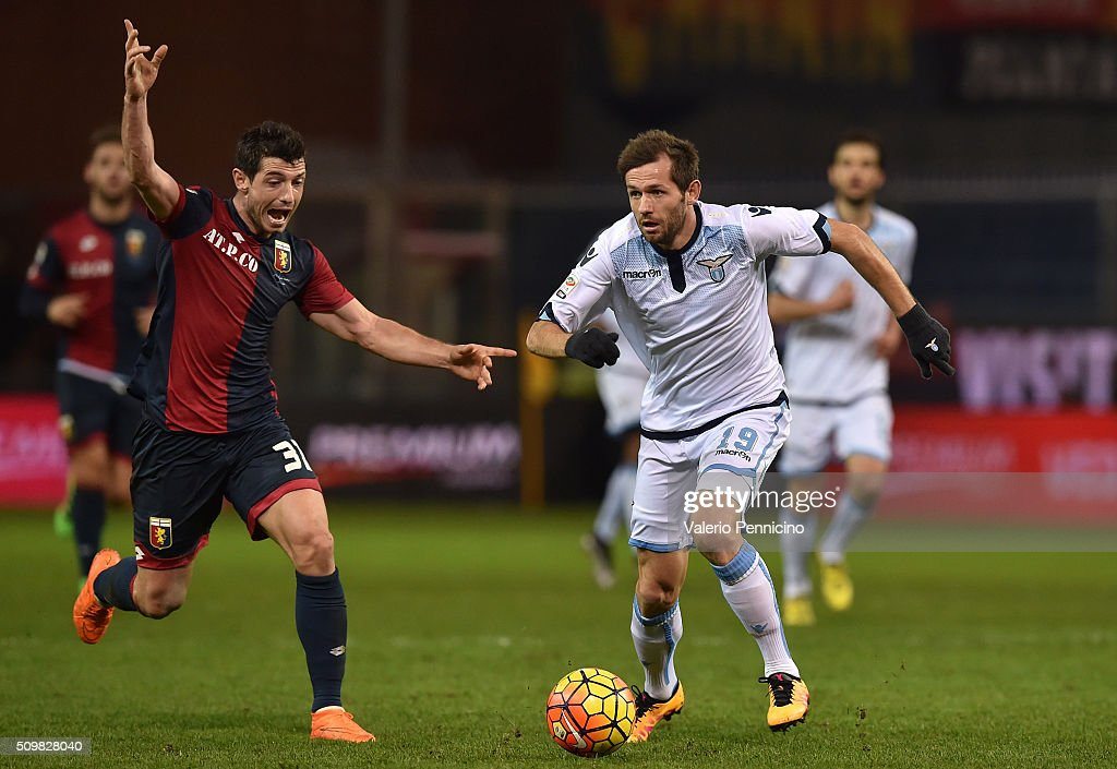 Blerin Dzemaili (L) of Genoa CFC reacts against Senad Lulic of SS Lazio during the Serie A match between Genoa CFC and SS Lazio at Stadio Luigi Ferraris on February 6, 2016 in Genoa, Italy.