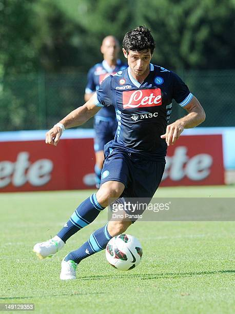 Blerin Dzemaili of Napoli in action during the preseason friendly match between SSC Napoli and US Grosseto on July 23 2012 in Dimaro near Trento Italy