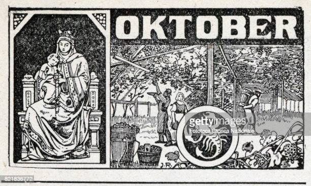 Blessed Virgin of the Rosary and the zodiac sign of the scorpion Header sheet for the month of September in a German almanac woodcut Germany 1919