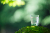 A glass of fresh and cold natural water is put on top of the growing rock of moss in of the valley  in Japan.