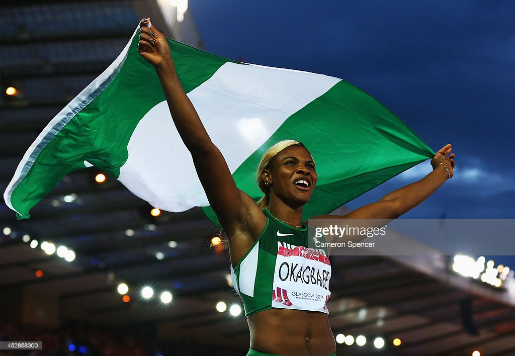 <a gi-track='captionPersonalityLinkClicked' href=/galleries/search?phrase=Blessing+Okagbare&family=editorial&specificpeople=5496695 ng-click='$event.stopPropagation()'>Blessing Okagbare</a> of Nigeria celebrates winning gold in the Women's 100 metres final at Hampden Park during day five of the Glasgow 2014 Commonwealth Games on July 28, 2014 in Glasgow, United Kingdom.