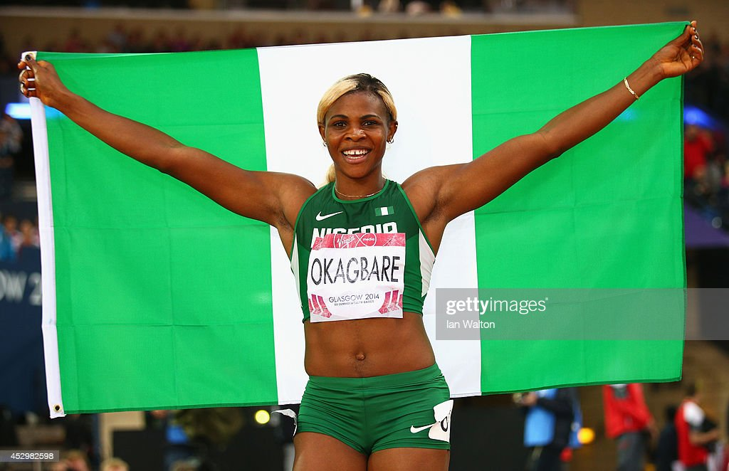 <a gi-track='captionPersonalityLinkClicked' href=/galleries/search?phrase=Blessing+Okagbare&family=editorial&specificpeople=5496695 ng-click='$event.stopPropagation()'>Blessing Okagbare</a> of Nigeria celebrates winning gold in the Women's 200m Final at Hampden Park during day eight of the Glasgow 2014 Commonwealth Games on July 31, 2014 in Glasgow, United Kingdom.