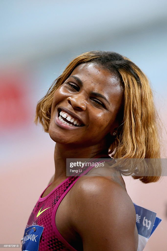 <a gi-track='captionPersonalityLinkClicked' href=/galleries/search?phrase=Blessing+Okagbare&family=editorial&specificpeople=5496695 ng-click='$event.stopPropagation()'>Blessing Okagbare</a> of Nigeria celebrates winning the Women's 200m of the Diamond League Track and Field competition on May 18, 2014 in Shanghai, China.