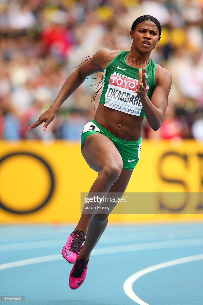 <a gi-track='captionPersonalityLinkClicked' href=/galleries/search?phrase=Blessing+Okagbare&family=editorial&specificpeople=5496695 ng-click='$event.stopPropagation()'>Blessing Okagbare</a> of Nigeria competes in the Women's 200 metres heats during Day Six of the 14th IAAF World Athletics Championships Moscow 2013 at Luzhniki Stadium on August 15, 2013 in Moscow, Russia.