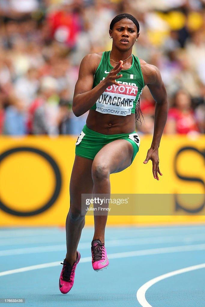 Blessing Okagbare of Nigeria competes in the Women's 200 metres heats during Day Six of the 14th IAAF World Athletics Championships Moscow 2013 at Luzhniki Stadium on August 15, 2013 in Moscow, Russia.