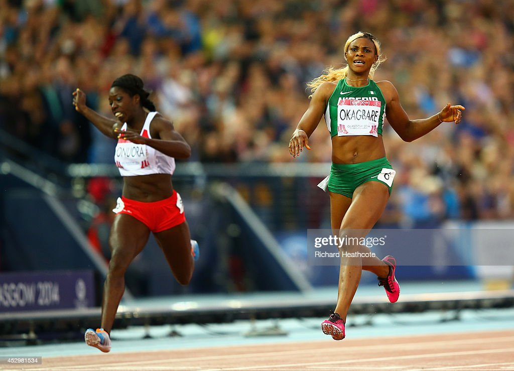 <a gi-track='captionPersonalityLinkClicked' href=/galleries/search?phrase=Blessing+Okagbare&family=editorial&specificpeople=5496695 ng-click='$event.stopPropagation()'>Blessing Okagbare</a> of Nigeria crosses the line to win gold in the Women's 200m Final at Hampden Park during day eight of the Glasgow 2014 Commonwealth Games on July 31, 2014 in Glasgow, United Kingdom.