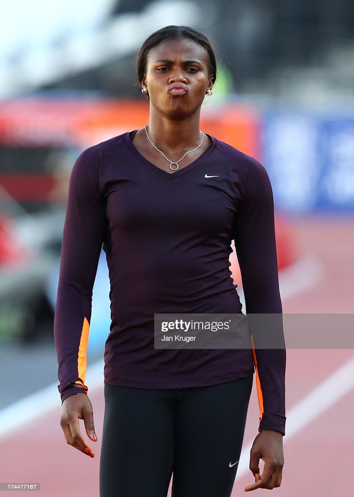 <a gi-track='captionPersonalityLinkClicked' href=/galleries/search?phrase=Blessing+Okagbare&family=editorial&specificpeople=5496695 ng-click='$event.stopPropagation()'>Blessing Okagbare</a> of Nigeria takes part in training ahead of the Sainsbury's Anniversary Games - IAAF Diamond League at The Olympic Stadium on July 25, 2013 in London, England.