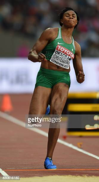 Blessing OkagbareIghoteguonor of Nigeria jumps in the long jump final in London at the 2017 IAAF World Championships athletics at the London Stadium...