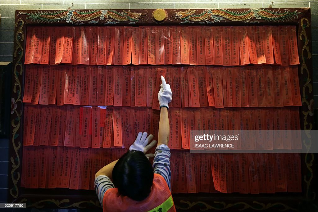 Blessings are pinned to a wall inside the Joss House Bay Tin Hau temple during celebrations for the Tin Hau Festival in Hong Kong on April 29, 2016. Tin Hau is the Goddess of the Sea and patron saint of fishermen - On her birthday, locals flock to the more than 70 temples dedicated to her to pray for safety, security, fine weather and full fishing nets during the coming year. / AFP / ISAAC