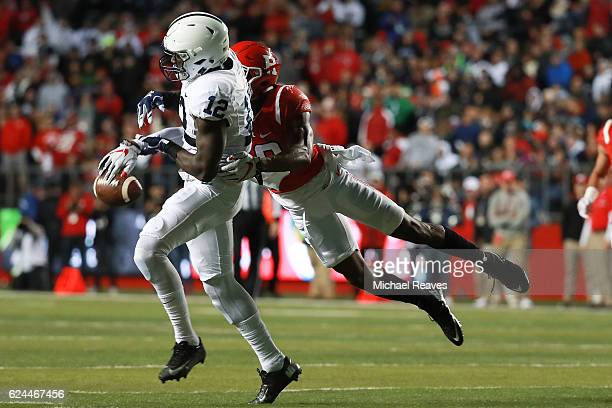 Blessuan Austin of the Rutgers Scarlet Knights breaks up a pass intended for Chris Godwin of the Penn State Nittany Lions during the first half at...
