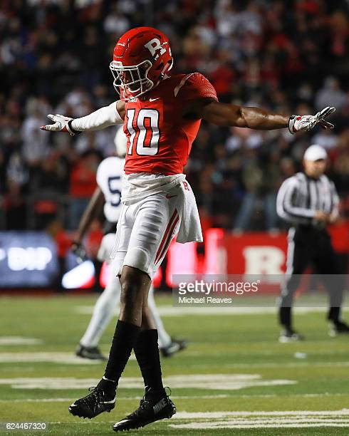 Blessuan Austin of the Rutgers Scarlet Knights reacts after breaking up a pass against the Penn State Nittany Lions during the first half at High...