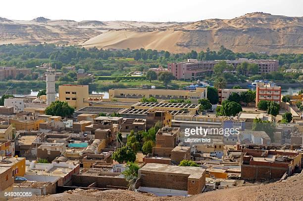 Blick auf einen Stadtteil von Assuan im Niltal von Oberägypten
