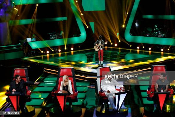 THE VOICE Blind Auditions Episode 302 Pictured Blake Shelton Christina Aguilera Mackenzie Bourg CeeLo Green Adam Levine