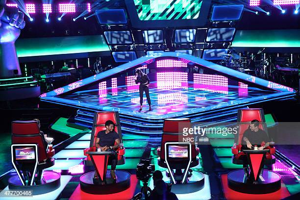 THE VOICE 'Blind Auditions' Episode 605 Pictured Usher Paula DeAnda Adam Levine