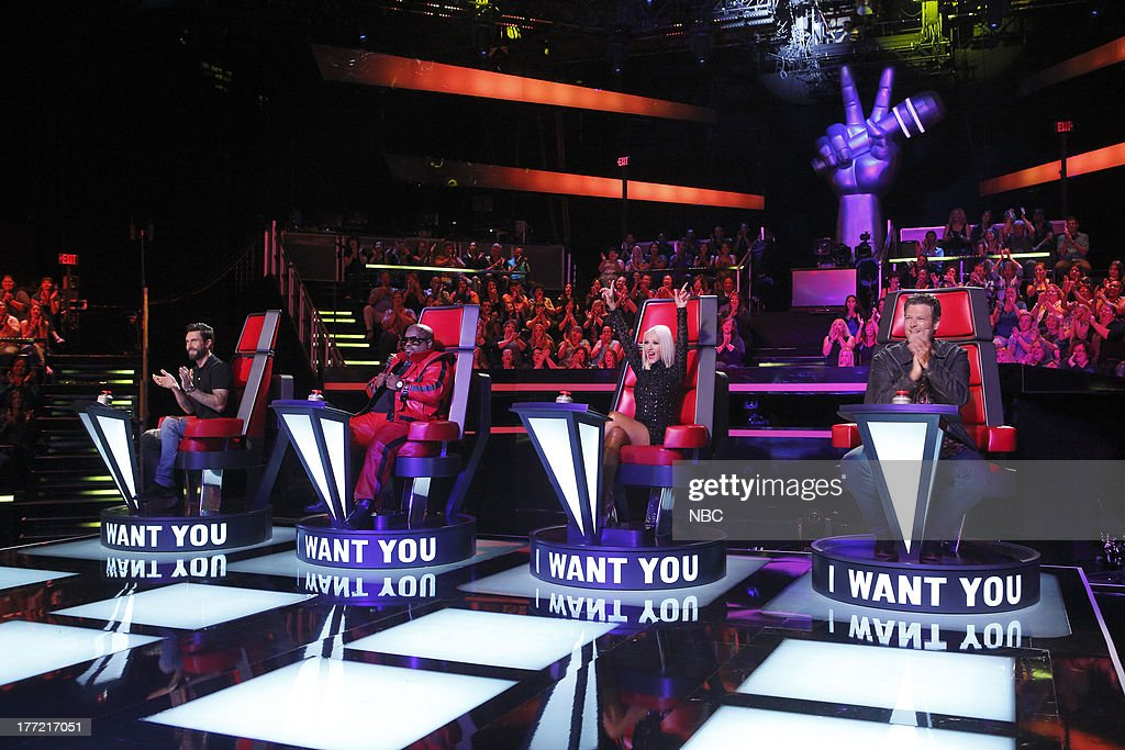 THE VOICE -- 'Blind Auditions' -- Pictured: (l-r) Adam Levine, Ceelo Green, Christina Aguilera, Blake Shelton --