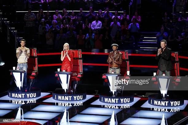 THE VOICE 'Blind Auditions' Pictured Adam Levine Gwen Stefani Pharrell Williams Blake Shelton